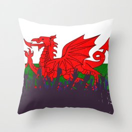 Welsh Flag with Audience Throw Pillow