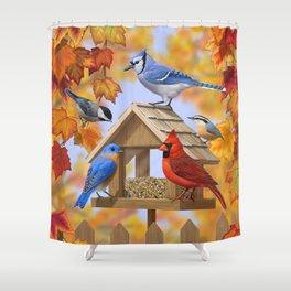 Autumn Bird Feeder Gathering Shower Curtain