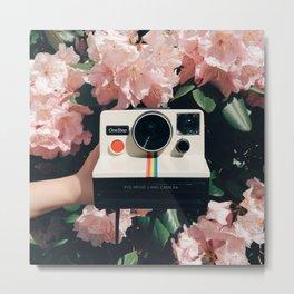 Polaroid & Flowers Metal Print