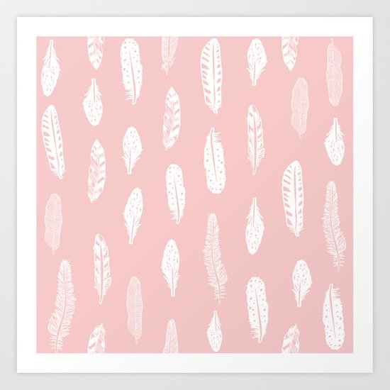 Feather pink and white minimal feathers pattern nursery gender neutral boho decor Art Print