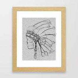 indian skull sketch Framed Art Print