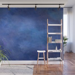 Abstract Soft Watercolor Gradient Ombre Blend 2 Deep Dark Blue and Light Blue Wall Mural