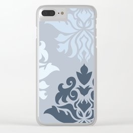 Ornate Damask Art I – Blues (A) Clear iPhone Case