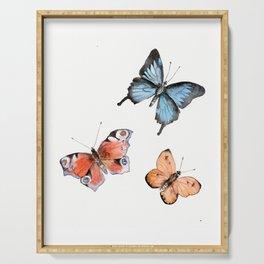 Watercolor Butterflies Serving Tray