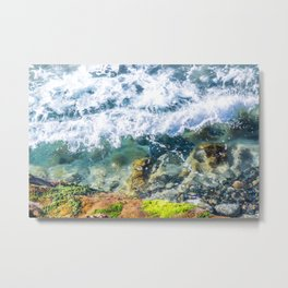 Clear Water Cliffside Metal Print