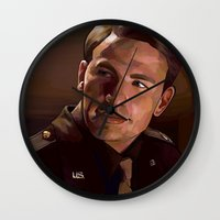 steve rogers Wall Clocks featuring Captain Rogers by Kelslk