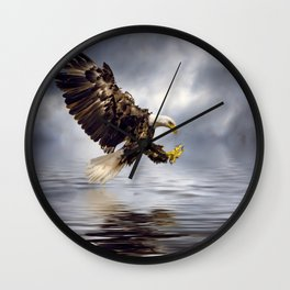 Young Bald Eagle Swooping Wall Clock