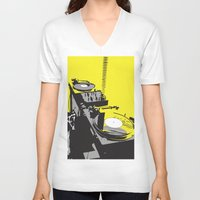 vinyl V-neck T-shirts featuring Vinyl by Akehworks