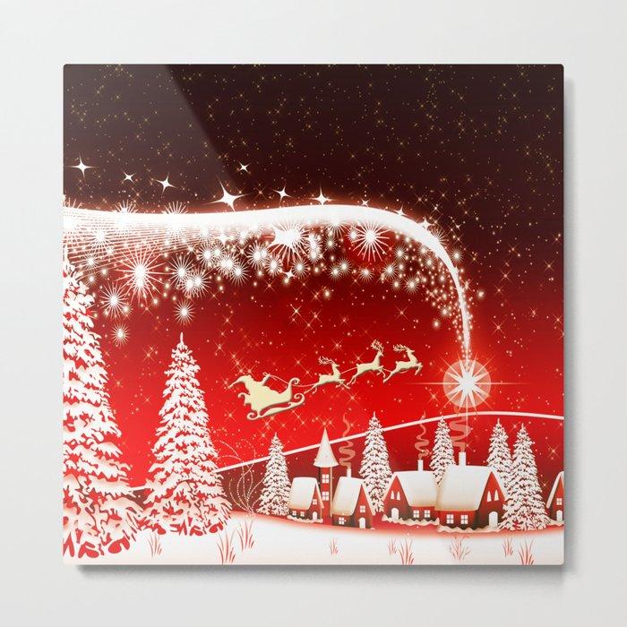 Santa Beautiful Christmas Metal Print