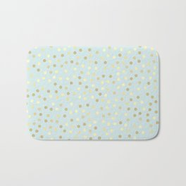Baby Blue & Gold Polka Dots Bath Mat