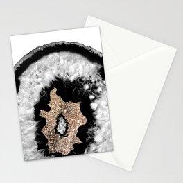 Gray Black White Agate Glitter Glamor #6 #gem #decor #art #society6 Stationery Cards