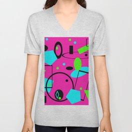 Retro abstract pink Unisex V-Neck
