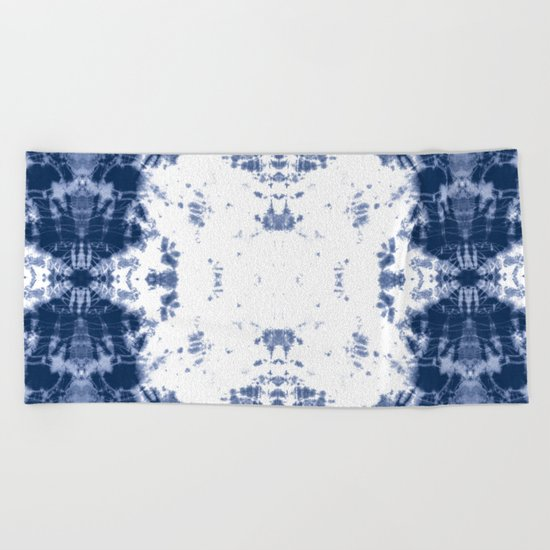 Shibori Tie Dye 5 Indigo Blue Beach Towel