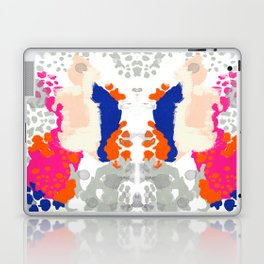 Mica - Abstract painting in modern fresh colors navy, orange, pink, cream, white, and gold Laptop & iPad Skin