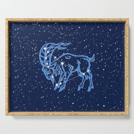 Capricorn Constellation and Zodiac Sign with Stars Serving Tray