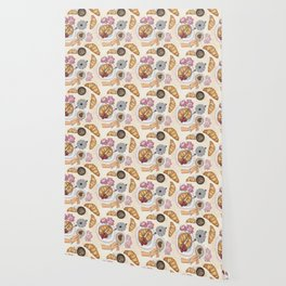 Good Morning Strawberries, Croissants And Coffee Pattern Wallpaper