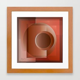 A geometric abstract in brown. Framed Art Print