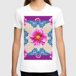BLUE BUTTERFLIES FUCHSIA DAHLIA FLOWERS ABSTRACT T-shirt