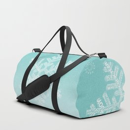 Typographic Snowfake Greetings - Ombre Teal Duffle Bag