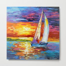 Sailboat at dawn Metal Print
