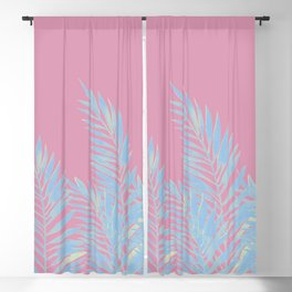 Palm Leaves Blue And Pink Blackout Curtain