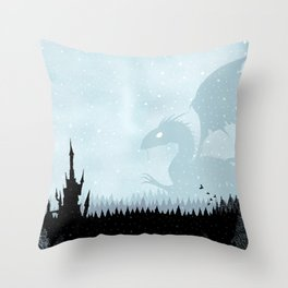 Dragon in Snowy Forest Throw Pillow