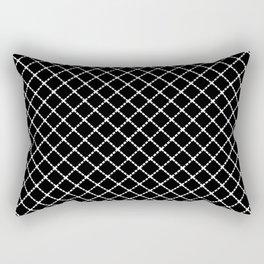 Dotted Grid 45 Black Rectangular Pillow