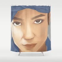 tupac Shower Curtains featuring Makaveli Aiko by Rey Lallave