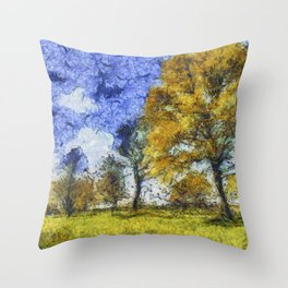 Summer Farm Van Gogh Throw Pillow