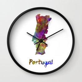 Portugal in watercolor Wall Clock