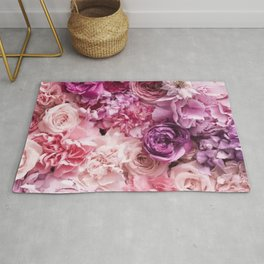 Big Summer Roses In All Shades Of Pink Rug