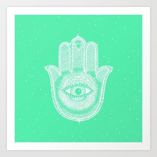 Hamsa lucky green Art Print
