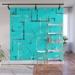 Dark carved squares and gray rhombuses on a sky blue background. Wall Mural