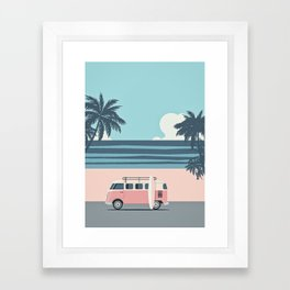Surfer Graphic Beach Palm-Tree Camper-Van Art Framed Art Print