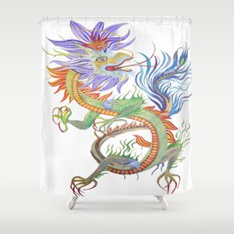 Bright and Vivid Chinese Fire Dragon Vector Shower Curtain
