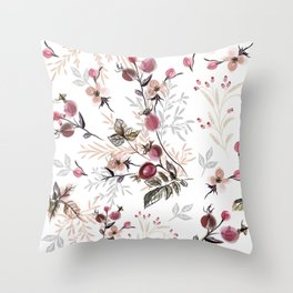 Vintage vector illustration with wild rose berries  Throw Pillow