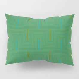 Doors & corners op art pattern in olive green and aqua blue Pillow Sham