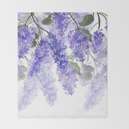 Purple Wisteria Flowers Throw Blanket