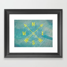 Map Compass - Forest Trees North East West South Compass Teal and Gold Framed Art Print