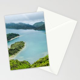 Lake in the mist, Azores, Portugal Stationery Cards