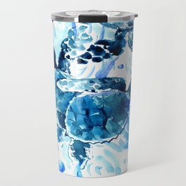 Three Sea Turtles, blue bathroom turtle artwork, Underwater Travel Mug