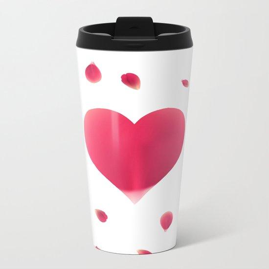 Rose Petal Heart Metal Travel Mug