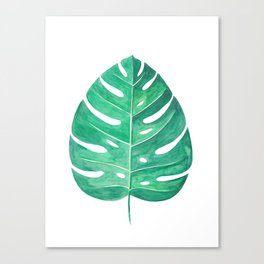 Monstera Leaf #2 | Watercolor Painting Canvas Print
