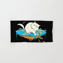 Flat Earth Cat Hand & Bath Towel