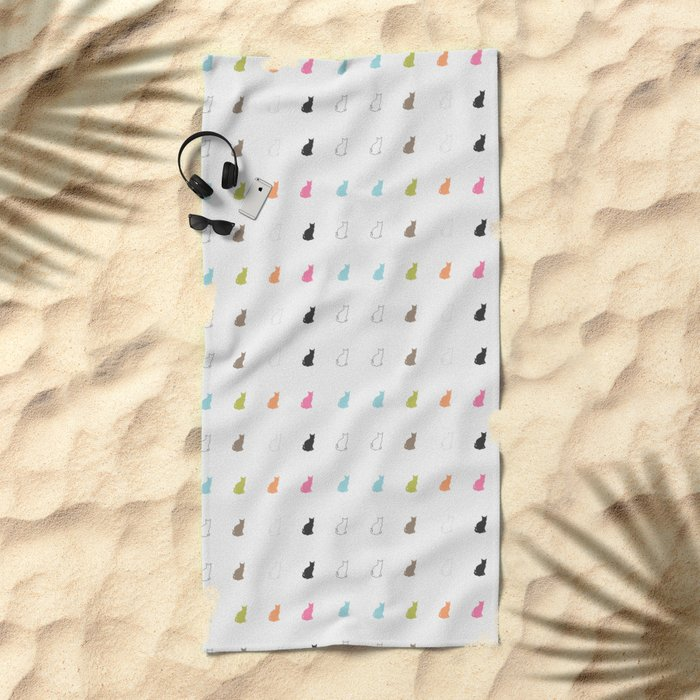 cat pattern#2 Beach Towel