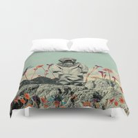diver Duvet Covers featuring Lonely Diver by Fajar P. Domingo
