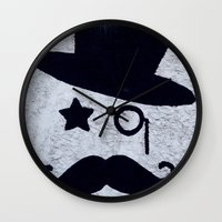 gentleman Wall Clocks featuring Gentleman by Lara Brambilla