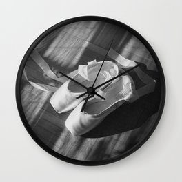 Ballet dance shoes. Black and White version. Wall Clock