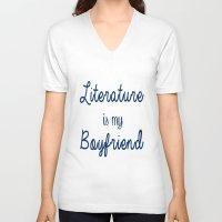 literature V-neck T-shirts featuring literature is my boyfriend blue by Beautiful Bibliophile's Boutique