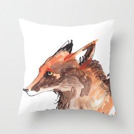 Angry Fox Throw Pillow